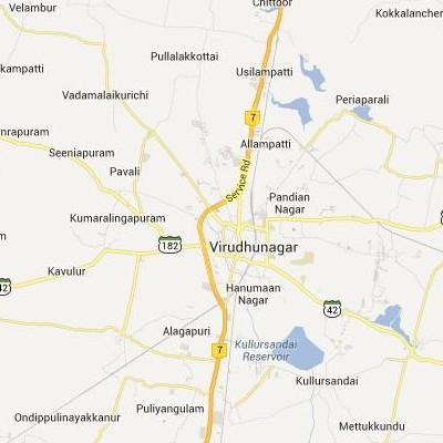 satellite map image of Virudunagar( Virudunagar,tamilnadu செயற்கைக்கோள் வரைபடம் படம்)
