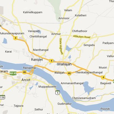 satellite map image of Walajapet( Walajapet,tamilnadu செயற்கைக்கோள் வரைபடம் படம்)