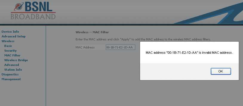 solution unable to add mac address to mac address filter of router